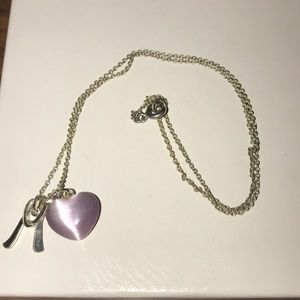 Jewelry - Silver 'M' and Purple Heart pendant necklace